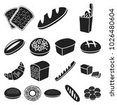 types of bread black icons in... | Shutterstock . vector #1026480604
