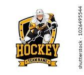 hockey logo badge with people | Shutterstock .eps vector #1026495544