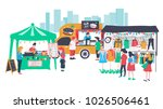 people selling and shopping at... | Shutterstock .eps vector #1026506461