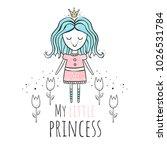 princess. watercolor vector... | Shutterstock .eps vector #1026531784