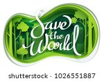 paper art of save the world... | Shutterstock .eps vector #1026551887