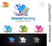 home painting vector logo design | Shutterstock .eps vector #1026559027
