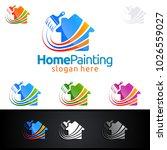 home painting vector logo design | Shutterstock .eps vector #1026559027
