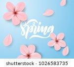 spring cherry blossom flowers...   Shutterstock .eps vector #1026583735