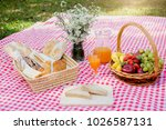 picnic wicker basket with food  ... | Shutterstock . vector #1026587131