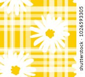 white daisies and white line... | Shutterstock .eps vector #1026593305