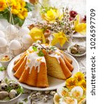 easter yeast cake with icing... | Shutterstock . vector #1026597709