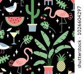 seamless summer tropical... | Shutterstock .eps vector #1026604297