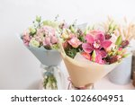 Stock photo flower shop concept close up beautiful lovely bouquet of mixed flowers on wooden table wallpaper 1026604951
