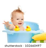 baby kid taking bath and playing | Shutterstock . vector #102660497