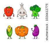 cartoon funny vegetable...   Shutterstock .eps vector #1026612775
