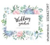 rose  blue echeveria succulent  ... | Shutterstock .eps vector #1026627397