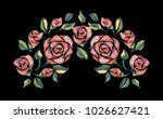 embroidery rose pattern.... | Shutterstock .eps vector #1026627421