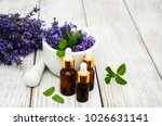 lavender and massage oils on a... | Shutterstock . vector #1026631141