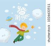 little boy flies to the star.... | Shutterstock .eps vector #1026633511