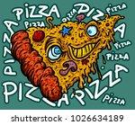 funny crazy pizza . cute pizza...   Shutterstock .eps vector #1026634189