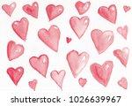 watercolor background hearts | Shutterstock . vector #1026639967