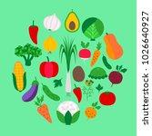 vegetable set on green. vector... | Shutterstock .eps vector #1026640927