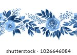 Indigo Blue Watercolor Roses....