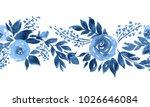 Indigo Blue Watercolor Roses....