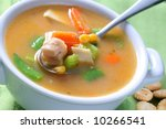 Bowl of Chicken Noodle Soup Closeup - stock photo