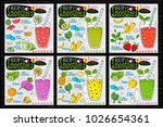 healthy smoothie receipes set.... | Shutterstock .eps vector #1026654361