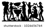 barbecue party silhouette. the... | Shutterstock .eps vector #1026656764