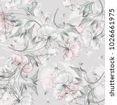 seamless peony pattern with... | Shutterstock . vector #1026661975