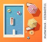 hello summer. swimming pool.... | Shutterstock .eps vector #1026663511