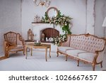 white classic interior with... | Shutterstock . vector #1026667657