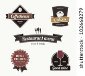 set of restaurant labels | Shutterstock .eps vector #102668279