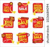 modern sale stickers and tags... | Shutterstock .eps vector #1026684094
