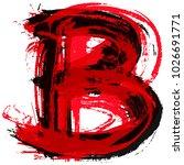 uppercase letter b.vector brush ... | Shutterstock .eps vector #1026691771