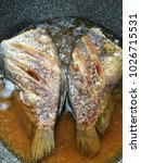Small photo of Snake Skin Gourami fish fried.Fish fry in oil and frying in the pan.