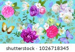 Stock vector spring seamless pattern with flowers succulents and butterflies 1026718345