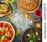 vegetarian food   pizza  salad  ... | Shutterstock . vector #1026718579