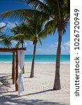 luxury beach shelter on the... | Shutterstock . vector #1026720949