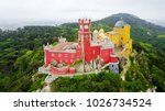 the pena palace from the sky....