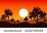 Landscape Of The Desert At Dusk
