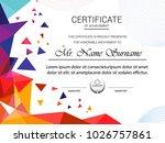 certificate template  vector... | Shutterstock .eps vector #1026757861