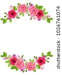beautiful pink rose flowers.   Shutterstock .eps vector #1026761074