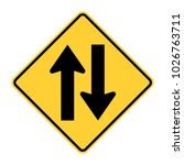 two way traffic sign  vector... | Shutterstock .eps vector #1026763711