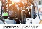 cinema camera on film set ...   Shutterstock . vector #1026770449