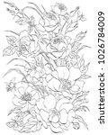 vector outline flowers.bouquet...   Shutterstock .eps vector #1026784009