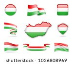 hungary flags collection. flags ... | Shutterstock .eps vector #1026808969