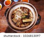pork ribs and  herbs soup... | Shutterstock . vector #1026813097