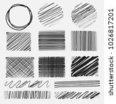 vector set of line grunge... | Shutterstock .eps vector #1026817201
