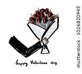 bouquet of flower happy... | Shutterstock .eps vector #1026820945