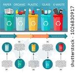 garbage sorting bins... | Shutterstock .eps vector #1026830917