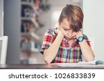 learning at home. little boy... | Shutterstock . vector #1026833839